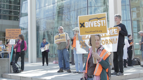 Activists in Sacramento, CA demonstrate in favor of divestment