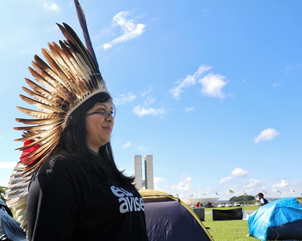 Andreia Takua pela saúde indígena no Acampamento Terra Livre