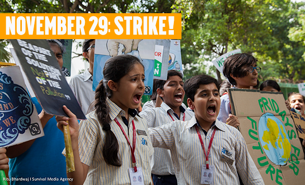Two children protesting in New Delhi at the last climate strike with text: November 29: Strike!