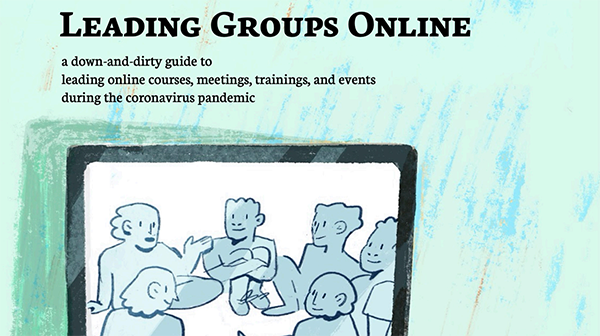 A green illustrated image of people talking with the title Leading Groups Online