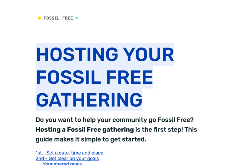 Fossil Free Gathering, Host's Guide